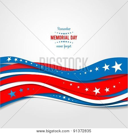Blue and red abstract waves. Patriotic holiday background. Holiday patriotic card for Independence d