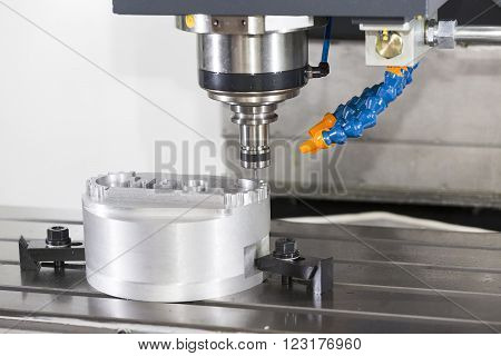 CNC machining center cutting mold by endmill cad cam stock photo