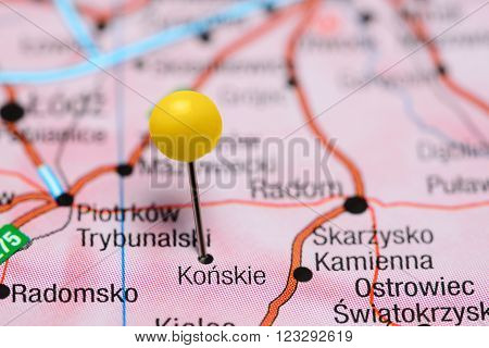 Photo of pinned Konskie on a map of Poland. May be used as illustration for traveling theme. stock photo