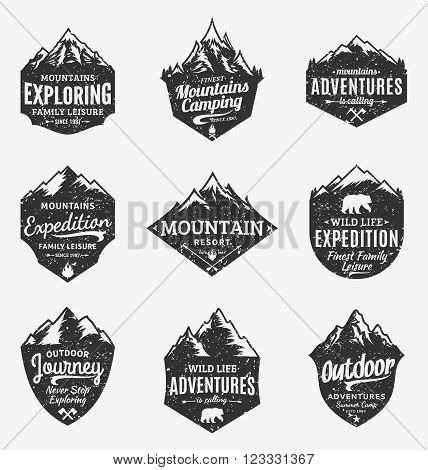 Set of retro styled vector mountain and outdoor adventures logo. Tourism hiking and camping labels. Mountains and travel icons for tourism organizations outdoor events and camping leisure.