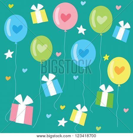 Birthday Seamless Pattern With Color Balloons Hearts And Gifts. Vector Background Illustration. Birthday Pattern Vector. Birthday Pattern Printable. Birthday Pattern Background. Pattern Image.