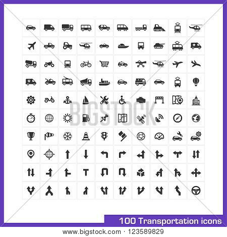 Transportation icons set. Vector black pictograms for business industry, navigation, web and internet, computer and mobile apps. Car, ship, airplane, helicopter, bicycle symbols