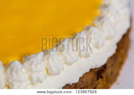 Advocaat cake on wood macro picture background ** Note: Shallow depth of field stock photo