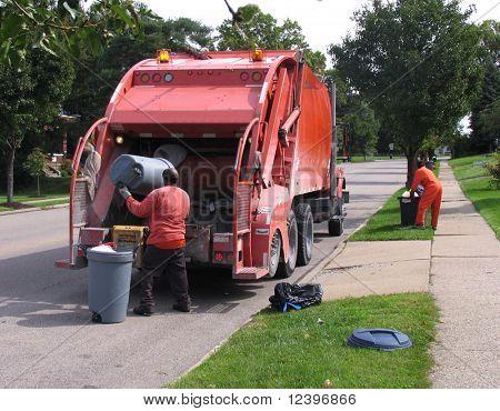 dustmen at work stock photo