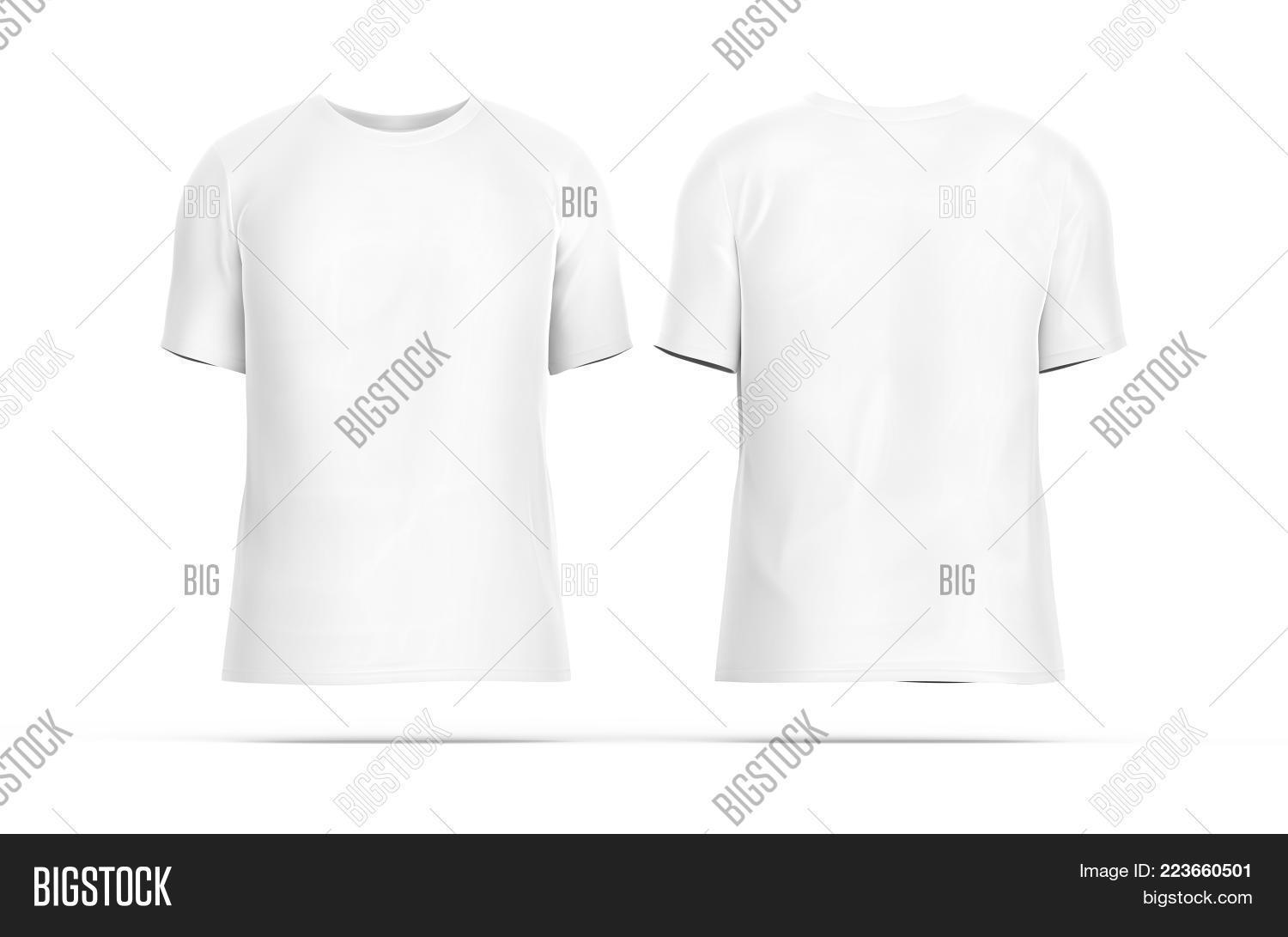 Crew Neck T Shirt Set Blank White Cloth Template With Invisible