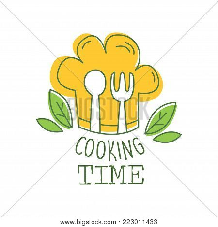 Culinary hand drawn logo original design with green leaves, orange chef s hat, fork and spoon. Abstract creative cooking time lettering. Line label for cafe, food studio, restaurant. Vector on white. stock photo