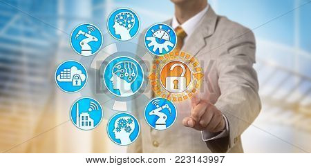 Unrecognizable manager unlocking secure information access to internet of things. Cyber and data security concept for artificial intelligence, industry 4.0, cyber-physical system, smart factory. stock photo