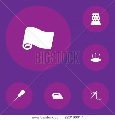 Set of 6 stitch icons set. Collection of awl, iron, fabric and other elements. stock photo