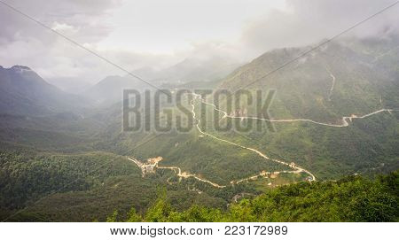 Mount Fansipan in Sapa, Vietnam. Fansipan is a mountain in Vietnam the highest in Indochina (comprising Vietnam Laos and Cambodia) at 3143 metres. stock photo