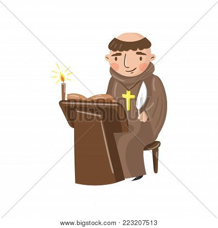 Medieval monk scribe character writing a chronicle of contemporary events cartoon vector Illustration on a white background stock photo