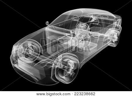 X-ray of car on isolated black background, 3d illustration stock photo