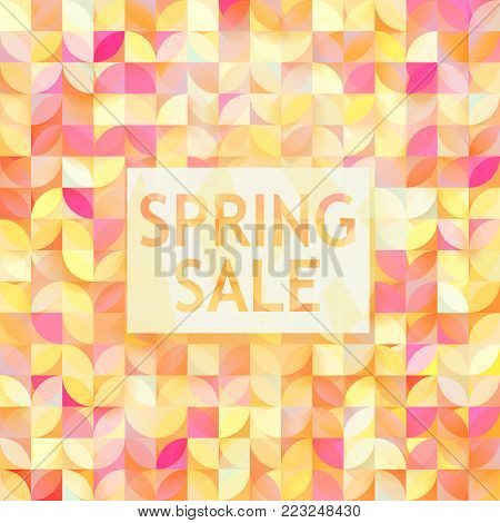 Vector spring sale poster. Cute discount card. Seasonal discount banner design. Sell-out, clearance, closeout. Advertising template. Colorful promo illustration. stock photo
