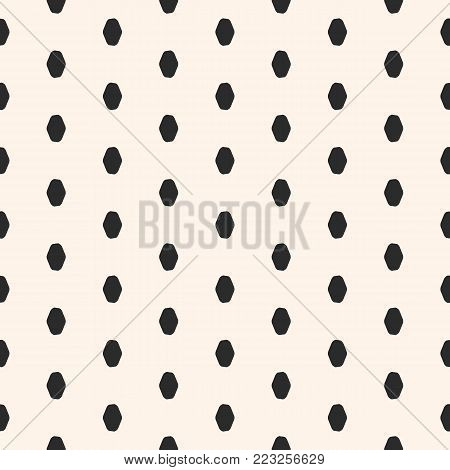 MInimal geometric pattern. Spotted vector minimalist seamless pattern. Abstract monochrome background pattern with doodle ovate shapes, repeat dots. Simple polka dot texture, hipster fashion, funky style. Design for textile, clothes, decoration stock photo