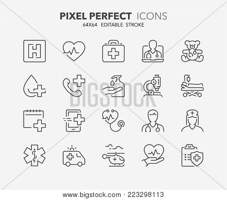 Thin line icons set of hospital and medical care. Outline symbol collection. Editable vector stroke. 64x64 Pixel Perfect. stock photo