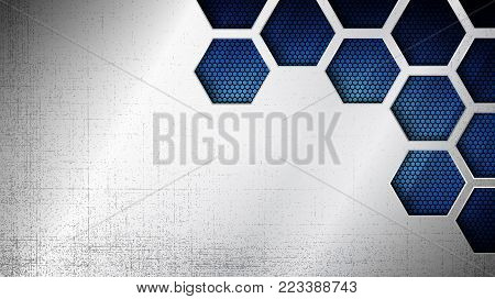 Vector illustration of abstract stainless steel metal panel with grunge overlay metallic texture and hexagonal grid pattern over blue light background for your design