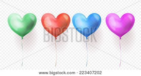 Heart balloon isolated glossy icon for Valentines Day, wedding or birthday greeting card design template. Vector 3D heart helium ballon decoration on transparent background stock photo