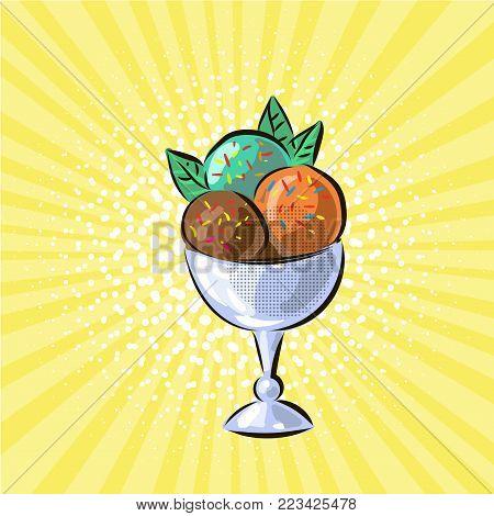 Ice cream in glass three flavours pop art hand drawn vector illustration art stock photo