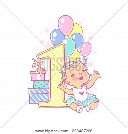 One year girl  near large number 1. First year celebration. Little girl's birthday. Cute toddler girl wearing tutu skirt. Air balloons, gifts, crown, bright color. Party. Vector illustration. stock photo