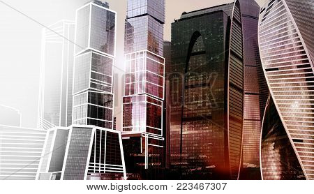 Skyscraper office building  Moscow city complex. Urban futuristic toned photo. Corporate building. Business technology. Corporation modern city architecture background. Mix photos and drawings. stock photo