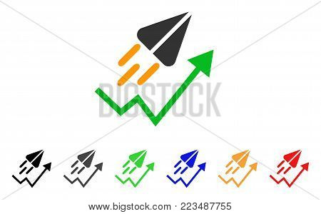 Ton Launch Trend Arrow icon. Vector illustration style is a flat iconic ton launch trend arrow symbol with grey, yellow, green, blue, red, black color versions. stock photo