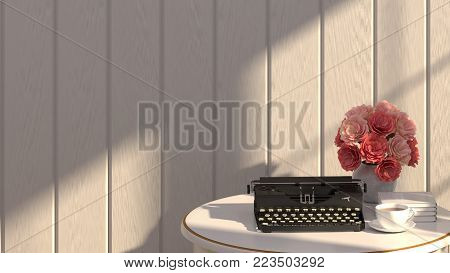 Typewriter and flowers are on the white table with sunlight in front of gray wall in room 3d rendering luxury living room vintage style  background room interior home design stock photo