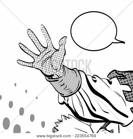 Man's hand holding out for something. Man demanding something. Man inquiring for something. Man's hand. Reaching out. Requiring something. Concept idea of advertisement. Halftone background stock photo