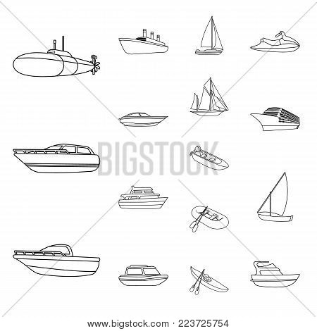 Water and sea transport outline icons in set collection for design. A variety of boats and ships vector symbol stock illustration. stock photo