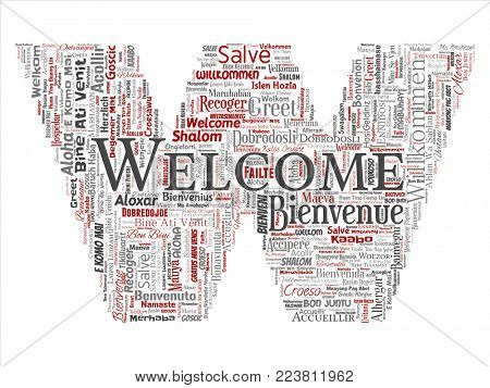 Conceptual abstract welcome or greeting international letter font W word cloud in different languages or multilingual. Collage of world, foreign, worldwide travel translate, vacation tourism stock photo