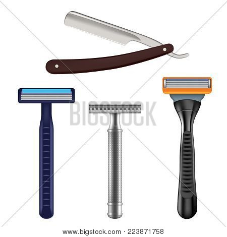Shaving razor mockup set. Vector realistic illustration of straight razor with brown handle and color wet shave razors for men. stock photo