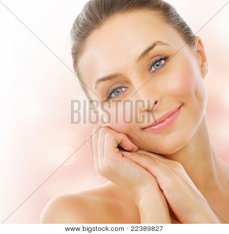 Beautiful Healthy Woman touching her skin. Middle Aged stock photo