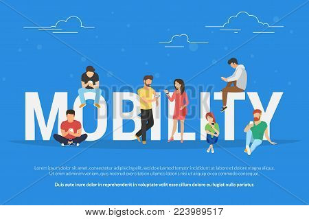 Mobility concept vector illustration of young people using mobile smartphones and apps for mobile services, social networks and ecommerce. Flat design of guys and women standing near big letters stock photo