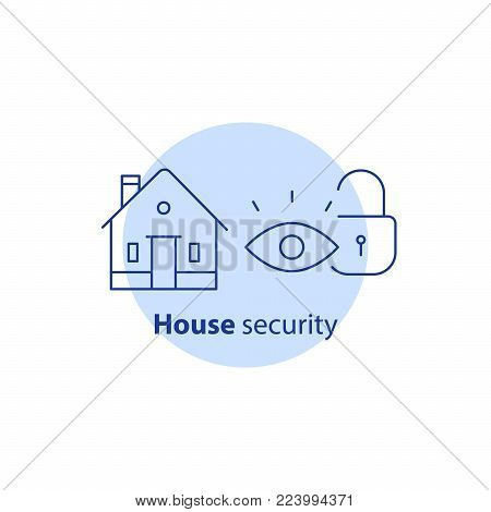 Home security service, house video surveillance, alarm guard system, robbery prevention, intrusion protection, property break in, burglary insurance concept, vector line icon stock photo