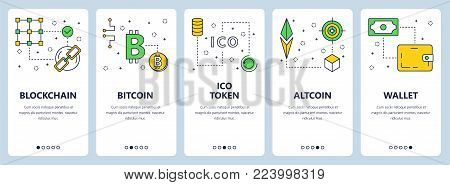 Vector set of vertical banners with Blockchain, Bitcoin, ICO token, Altcoin, Wallet concept website templates. Modern thin line flat style design. stock photo