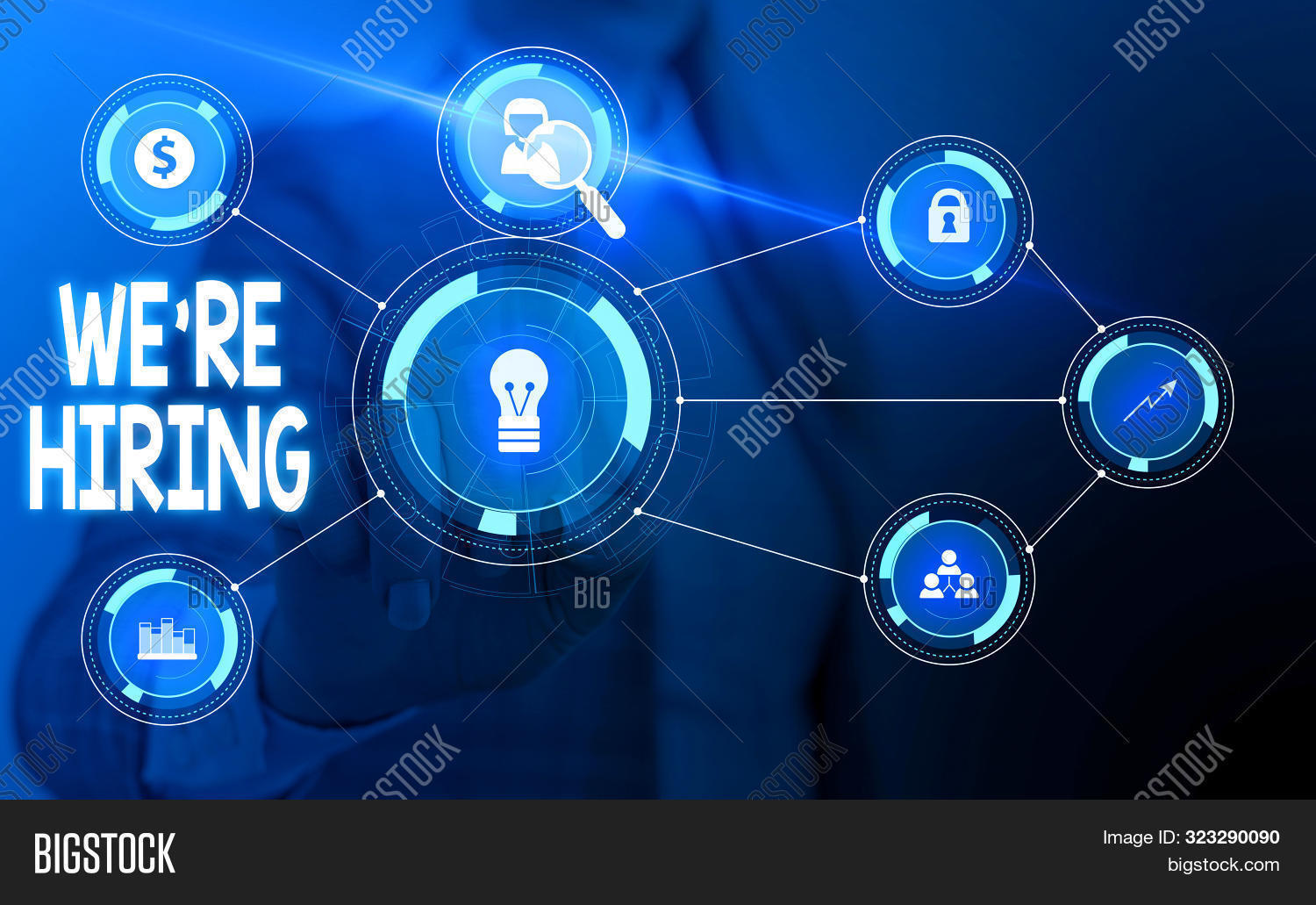 Text sign showing We Re Hiring. Conceptual photo Advertising Employment Workforce Placement New Job Woman wear formal work suit presenting presentation using smart device.