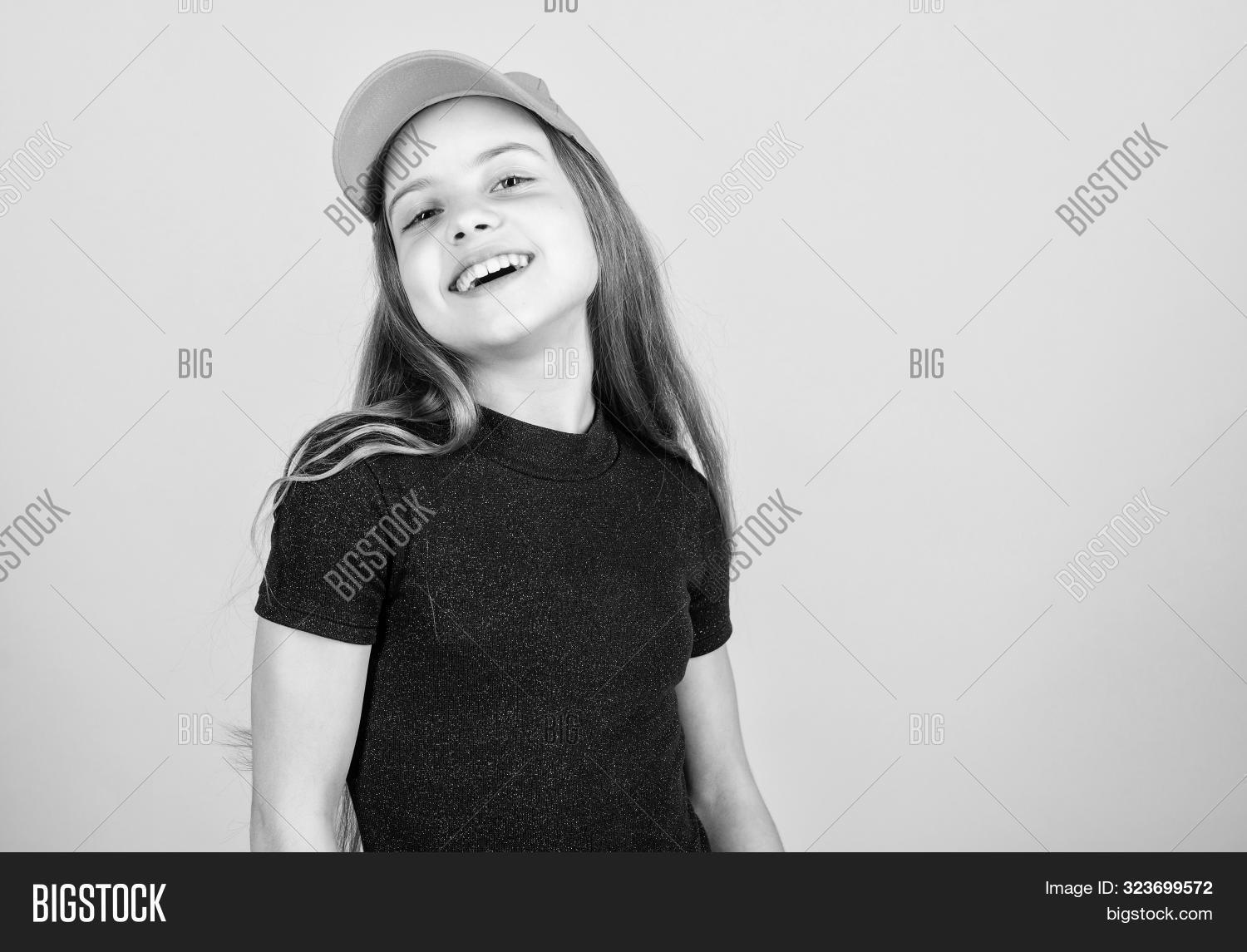 Modern Fashion. Hat Or Cap. Stylish Accessory. Kids Fashion. Feeling Confident With This Cap. Girl C