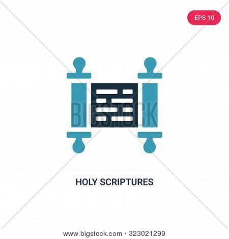 holy scriptures icon in two color design style. stock photo