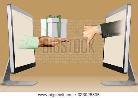ecommerce concept, hands from computers. hand with gift box and thumbs down, dislike . 3d illustration stock photo