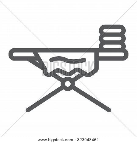Ironing board line icon, laundry and housekeeping, home appliance sign, vector graphics, a linear pattern on a white background. stock photo