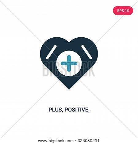 plus, positive, add, icon in two color design style. stock photo