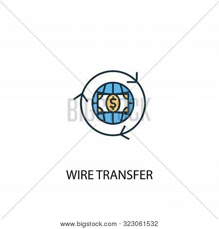 Wire Transfer Concept 2 Colored Line Icon. Simple Yellow And Blue Element Illustration. Wire Transfe