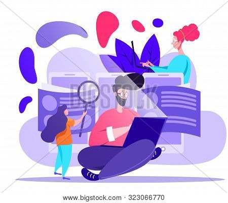 HR, hire and recruitment human resources vector concept in violet colors on white background. Looking through applicant CVs and searching for job on mobile and web devices stock photo