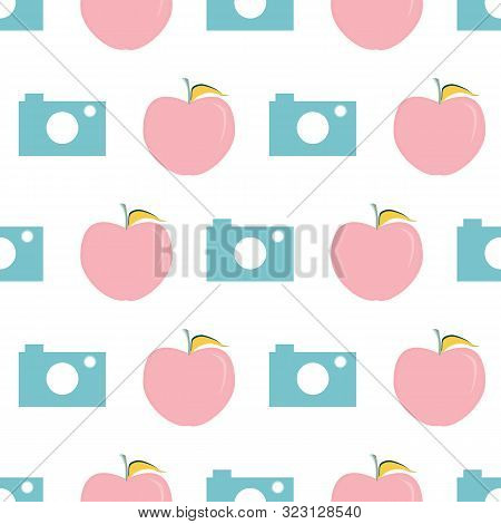 Vector illustration of cameras and apples on white background. Seamless pattern for back to school supplies, textile, gifts, wallpaper and scrapbooking. stock photo