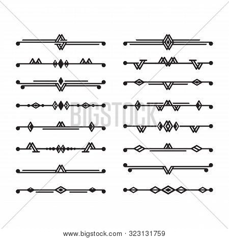 Abstract black art deco stylized and isolated dividers icons set design elements on white background stock photo