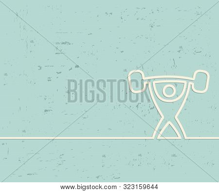 Creative heavy athletics. Art illustration template background. For presentation, layout, brochure, logo, page, print, banner, cover, booklet, business infographic, wallpaper, sign, flyer. stock photo