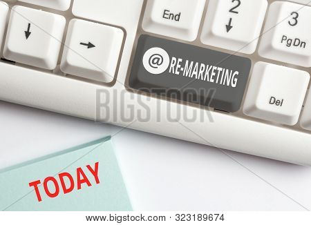 Word writing text Re Marketing. Business concept for Strategy to reach potential customers in your website White pc keyboard with empty note paper above white background key copy space. stock photo