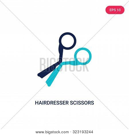 hairdresser scissors icon in two color design style. stock photo