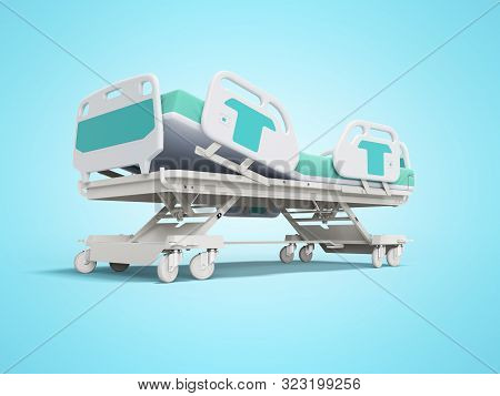 Blue hospital bed with lifting mechanism on stand alone remote control 3D render on blue background with shadow stock photo