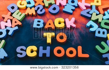 Back to school and Colorful Letters of Alphabet stock photo