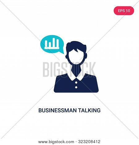 businessman talking about data analysis icon in two color design style. stock photo