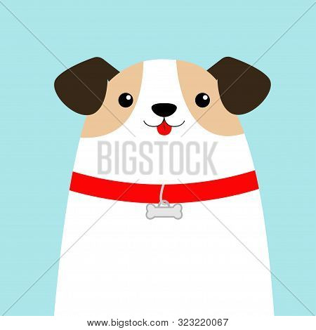Dog face head. White puppy pooch. Red collar bone. Cute cartoon kawaii funny baby character. Flat design style. Help homeless animal concept. Adopt me. Pet adoption. Blue background. Isolated. Vector stock photo
